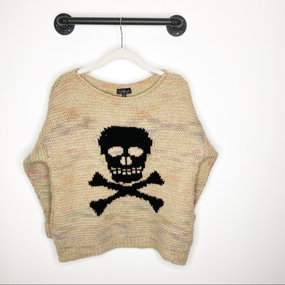 Topshop Skull Sweater Chunky Knit rainbow Wool